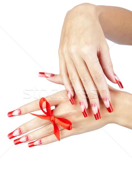 Acrílico unhas manicure mãos vermelho francês Foto stock © zastavkin