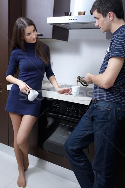 Manhã café potável cozinha homem Foto stock © zastavkin