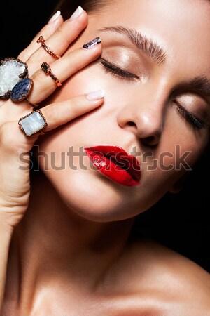Ragyogó arc smink gyönyörű fiatal nő divat Stock fotó © zastavkin