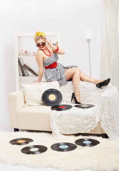 Stockfoto: Blonde · vrouw · portret · mooie · jonge · blond