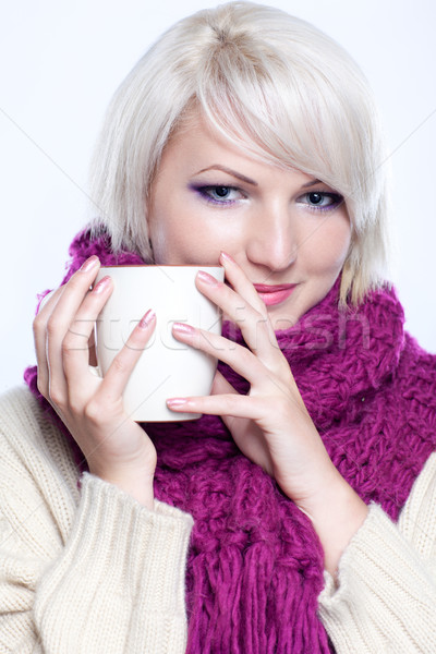 Stock photo: woman with cup of tee