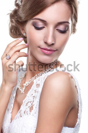 blonde with pearl string Stock photo © zastavkin