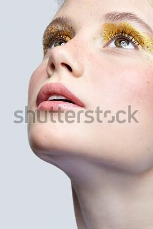 girl's fantasy blue body-art Stock photo © zastavkin