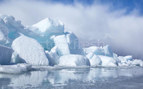 Kış açık görmek bloklar buz dondurulmuş Stok fotoğraf © zastavkin