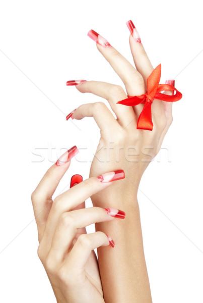 Akril körmök manikűr kezek piros francia Stock fotó © zastavkin