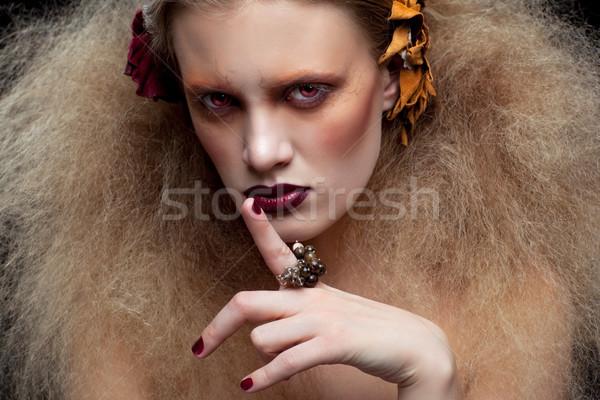 Halloween schoonheid vrouw make stijl vinger Stockfoto © zastavkin