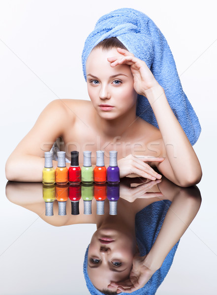 Vrouw nagel vernis jonge mooie spa Stockfoto © zastavkin