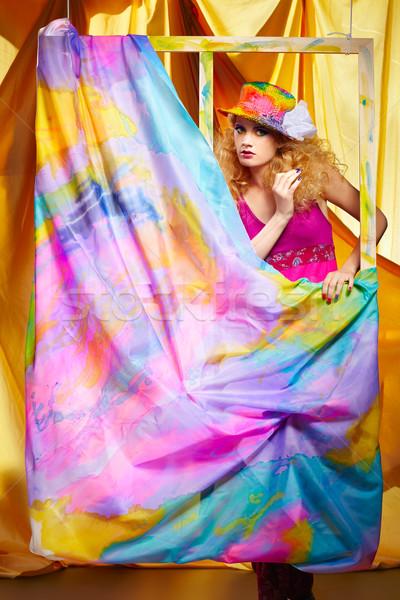Сток-фото: женщину · художник · портрет · красивой · красочный