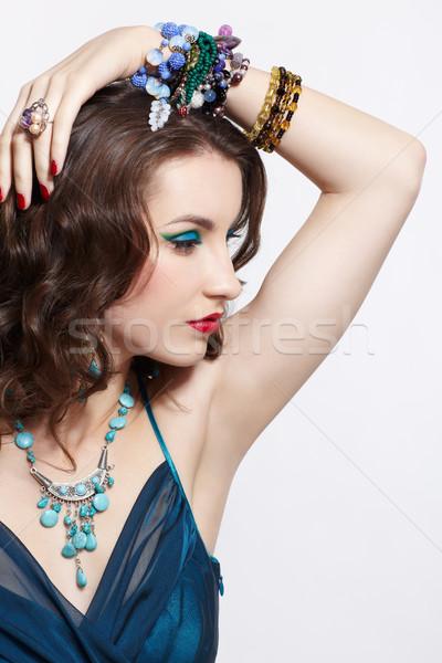 красивой брюнетка молодые женщину синий Сток-фото © zastavkin