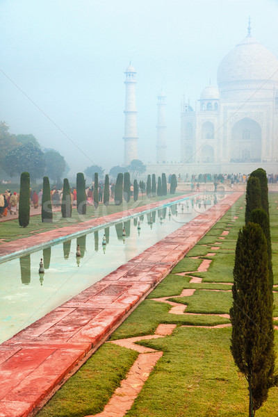 Foto stock: Taj · Mahal · brumoso · manana · oculto · pálido · niebla