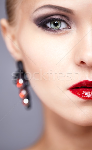 Half face close-up portrait of young woman Stock photo © zastavkin