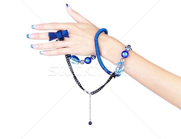 hands with beads Stock photo © zastavkin