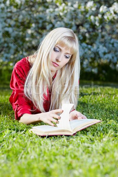 少女 屋外 図書 屋外 肖像 美しい ストックフォト © zastavkin
