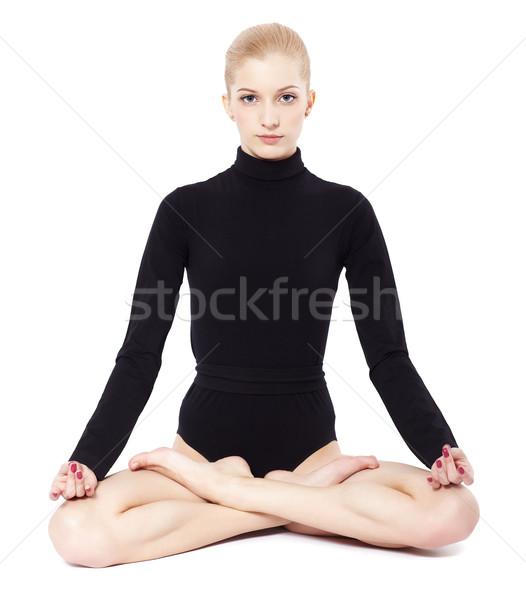 Stock photo: beautiful blonde gymnast