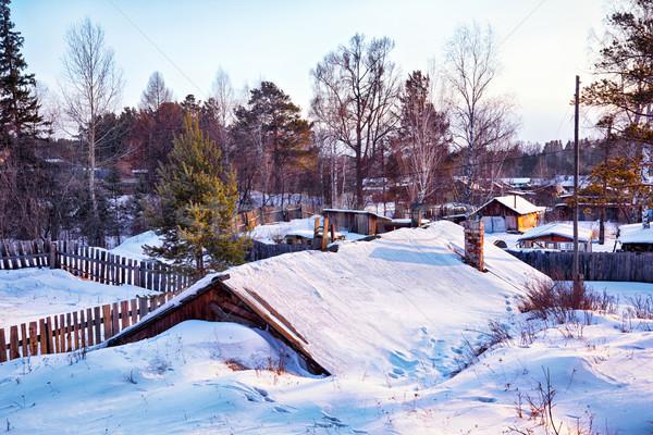 Siberian village at winter Stock photo © zastavkin
