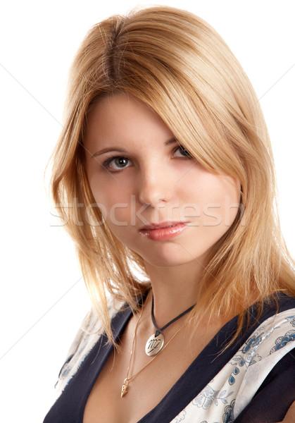 довольно блондинка девушки белый женщину свет Сток-фото © zastavkin