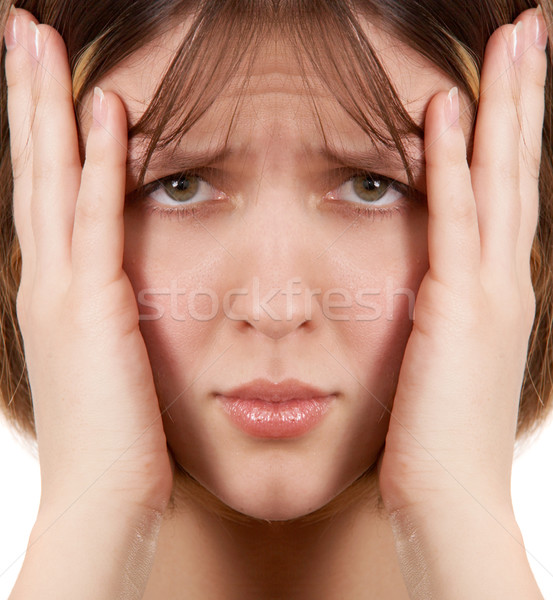Woman with headache Stock photo © zastavkin