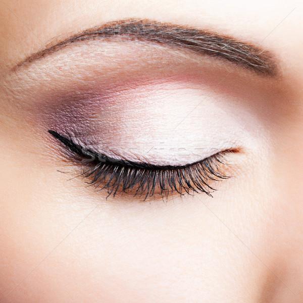 Kapalı göz atış kadın göz makyajı Stok fotoğraf © zastavkin