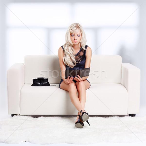 Menina ebook retrato belo jovem loiro Foto stock © zastavkin