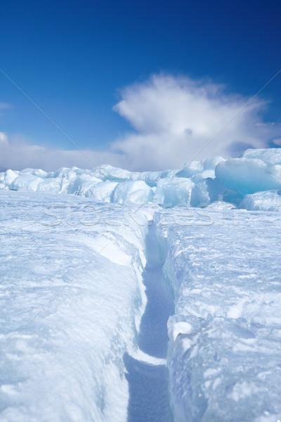 Kış buz manzara göl gökyüzü mavi Stok fotoğraf © zastavkin