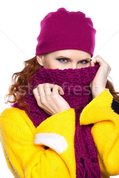 Belle fille vêtements chauds jeune femme chapeau écharpe isolé Photo stock © zastavkin