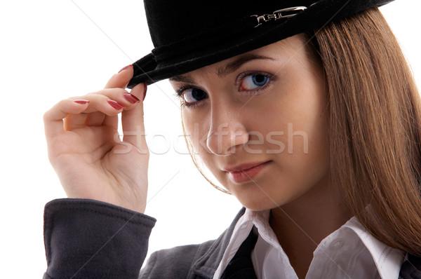 Meisje zwarte hoed portret jonge vrouwelijke Stockfoto © zastavkin