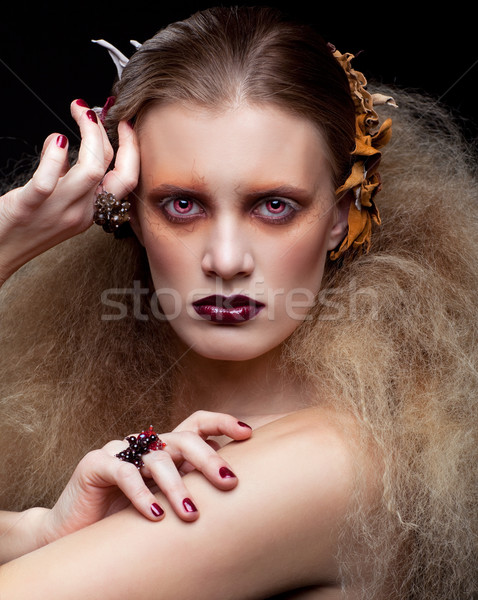 Halloween beauté femme maquillage style fille Photo stock © zastavkin