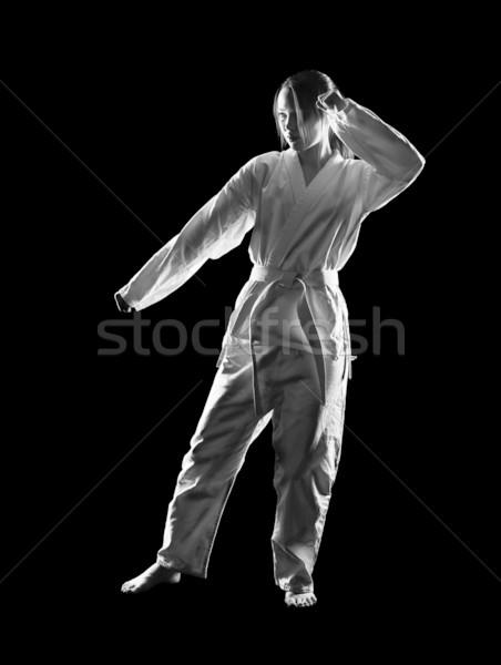 Karate meisje silhouet portret mooie vechtsporten Stockfoto © zastavkin