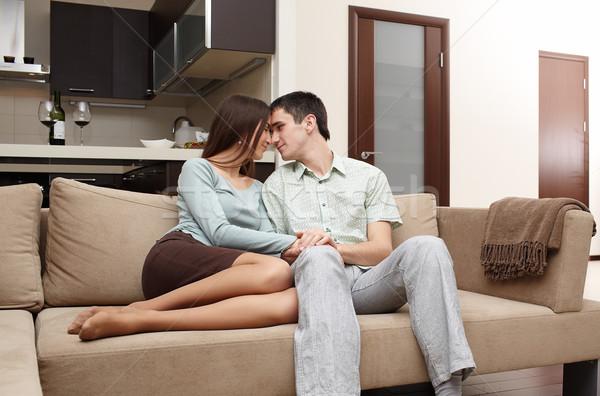 Boldog újonnan házaspár otthon kanapé férfi Stock fotó © zastavkin