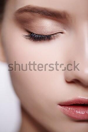 Foto stock: Primer · plano · hermosa · niña · retrato · jóvenes · mujer · hermosa · violeta