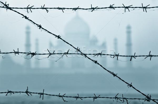 Taj Mahal derrière barbelés Inde tôt le matin construction Photo stock © zastavkin