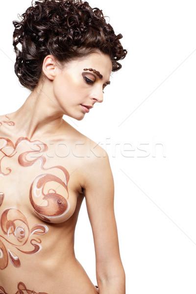 кофе девушки портрет ню тело модель Сток-фото © zastavkin