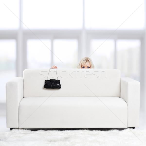 ストックフォト: ブロンド · 少女 · ソファ · 肖像 · 美しい · 小さな