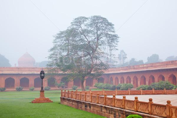 Foto stock: Jardín · manana · niebla · Taj · Mahal · cielo