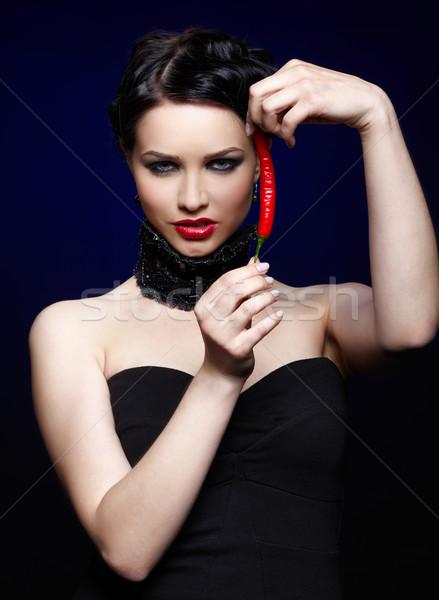 красивой брюнетка женщину кайенский перец портрет девушки Сток-фото © zastavkin