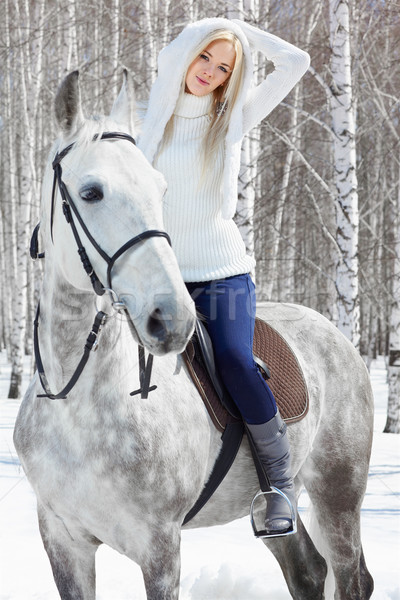 beautiful girl with horse Stock photo © zastavkin