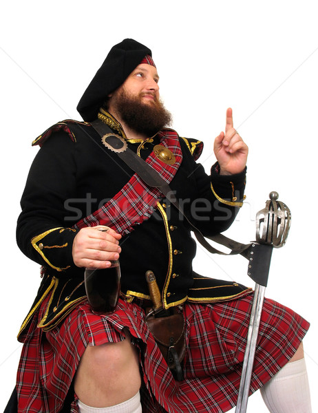Scottish warrior with bottle of red wine Stock photo © zastavkin