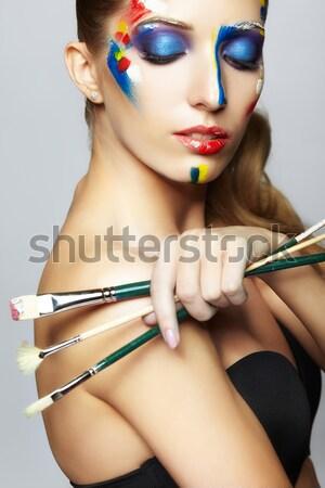 великолепный женщину маске портрет красивой брюнетка Сток-фото © zastavkin