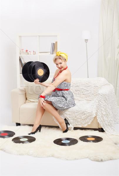 Stockfoto: Blonde · vrouw · portret · mooie · gelukkig · jonge