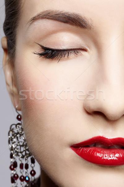 Photo stock: Belle · femme · boucles · d'oreilles · visage · portrait