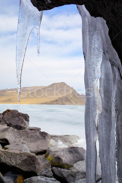 Tél szabadtér kilátás fagyott tó égbolt Stock fotó © zastavkin
