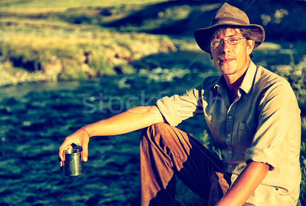 Tourist in camp Stock photo © zastavkin