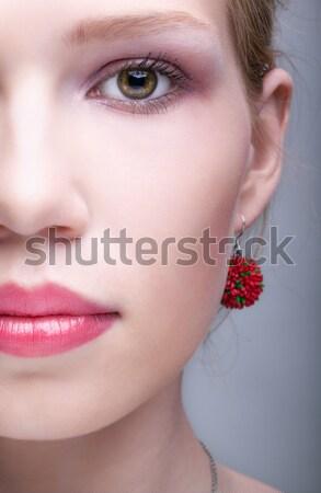 Stok fotoğraf: Güzel · kız · portre · genç · güzel · bir · kadın · mor