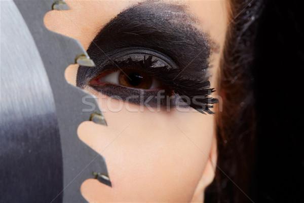 Meisje zag portret mooi meisje Stockfoto © zastavkin