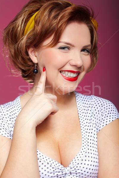 Pinup fille portrait up style rétro visage Photo stock © zastavkin