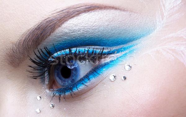 Zdjęcia stock: Kobieta · oka · makijaż · niebieski · biały · dziewczyna