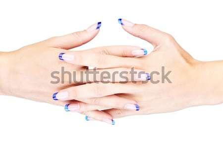 Stock fotó: Kezek · kék · francia · manikűr · profi · francia · körmök
