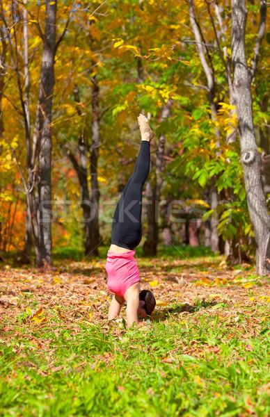 Yoga urdhva mukha pinch mayurasana pose Stock photo © zastavkin