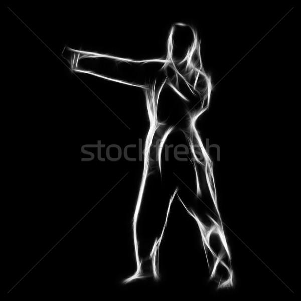 Fraktál portré karate lány sziluett gyönyörű Stock fotó © zastavkin