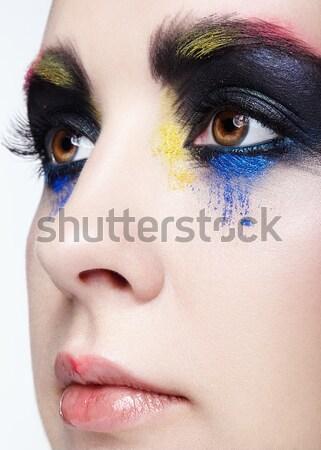 Donna falso piuma ciglia trucco giovani Foto d'archivio © zastavkin